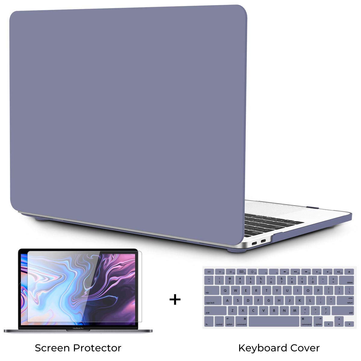 OneGET MacBook Air 13 Inch Case 2018 Laptop Case MacBook Air 13 inch Release A1932 with Retina Display Computer Case MacBook Air 13 Cream Color Series MacBook Air 13 CaseWith Touch ID Lavender Grey