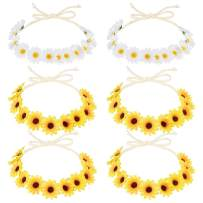 Sunflower Headband Crown 6 Pack, Frcolor Daisy Boho Flower Headband Sunflower Hair Wreath Women Girl Bridal Floral Headpiece For Hippie Party Wedding Festivals