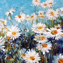 Adarl DIY Oil Painting Paint by Number Kit Image Drawing On Canvas by Hand Coloring Arts Crafts & Sewing New White Daisies