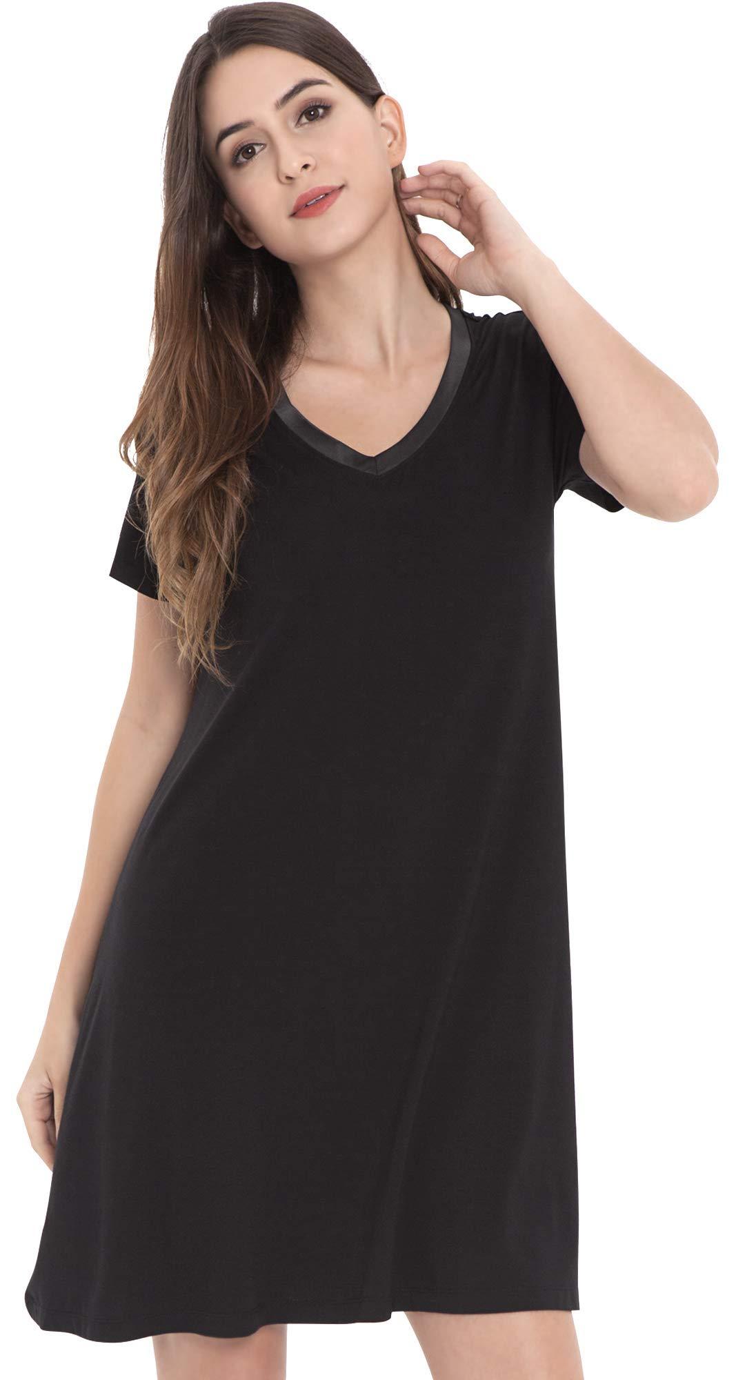 NEIWAI Women's Nightgowns Bamboo Sleep Shirt Short Sleeve Lounge Dress S-4X
