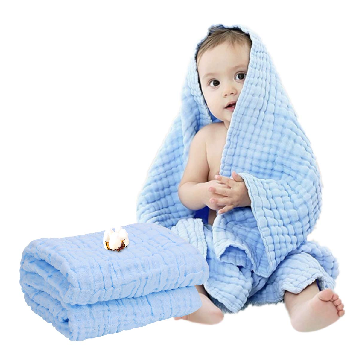FOOK FISH Muslin Baby Towel Super Soft Cotton Gauze Baby Bath Towel 6 Layers Infant Towel Newborn Towel Blanket Suitable for Baby's Delicate Skin 40 x 40inches Blue by Mom's Love