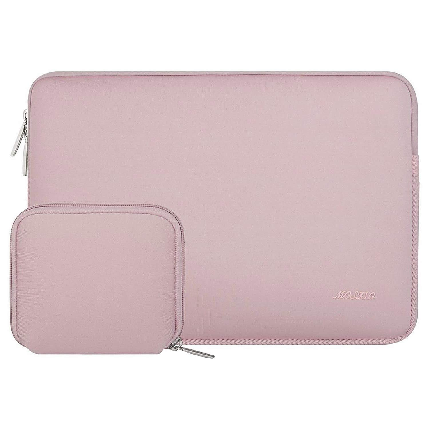 MOSISO Laptop Sleeve Compatible with 2019 MacBook Pro 16 inch Touch Bar A2141, 15-15.6 inch MacBook Pro Retina 2012-2015, Notebook, Water Repellent Neoprene Bag with Small Case, Baby Pink