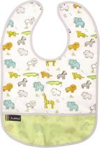 Kushies Cleanbib Waterproof Feeding Bib with Catch All/Crumb Catcher Pocket. Wipe Clean and Reuse! Lightweight for Comfort, Baby Boys and Girls, Unisex, 12 Months and Up, Neutral White Little Safari