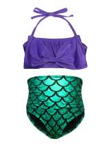 Cotrio 3Pcs Girls Swimsuit Mermaid Tails for Swimming Princess Costume Bikini Set Bathing Suit