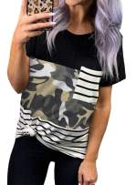 ZKESS Womens Striped Camo T-Shirt Pocket Leopard Striped Short Sleeve Casual Round Neck Summer Blouse Shirt Tops