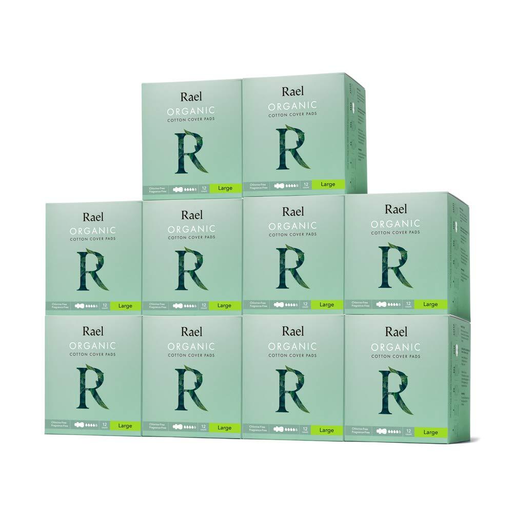Rael Bundle Package - Rael Certified Organic Cotton Pads 10 Pack / 120 Total (Large)