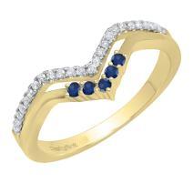 Dazzlingrock Collection 14K Round Gemstone & Diamond Ladies Five Stone Chevron Wedding Band, Yellow Gold