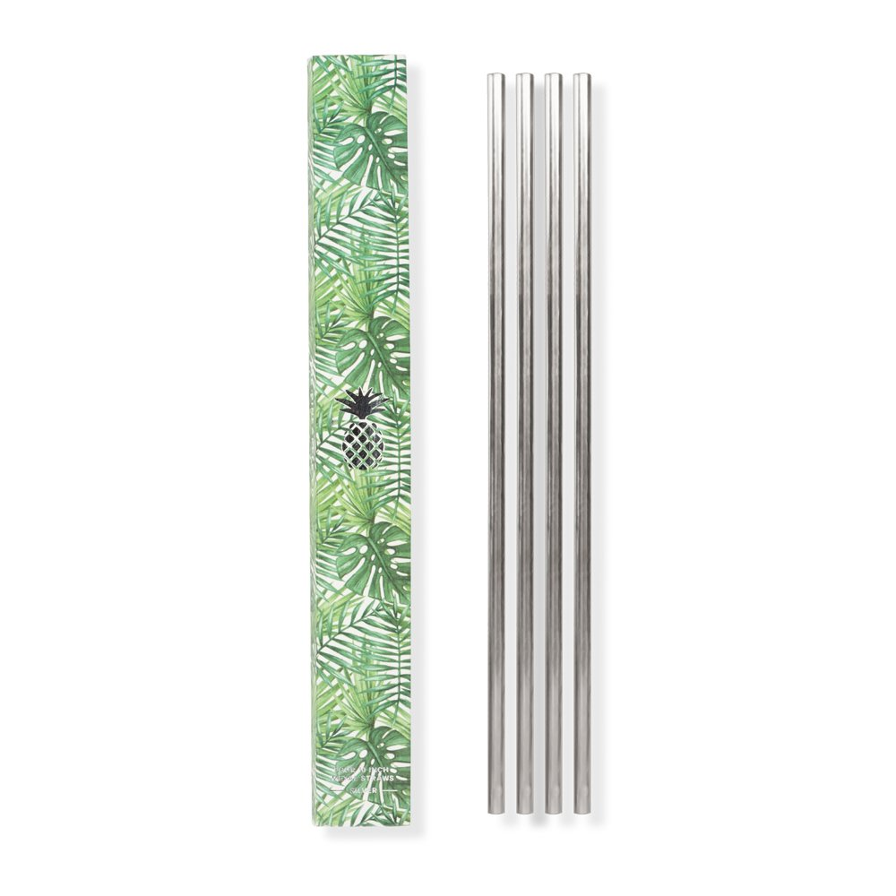 W&P MAS-PINESTR-10S Pineapple Metal Straws, Reusable & Eco-Friendly Straws, Stainless Steel, Silver, 10 inch, Set of 4
