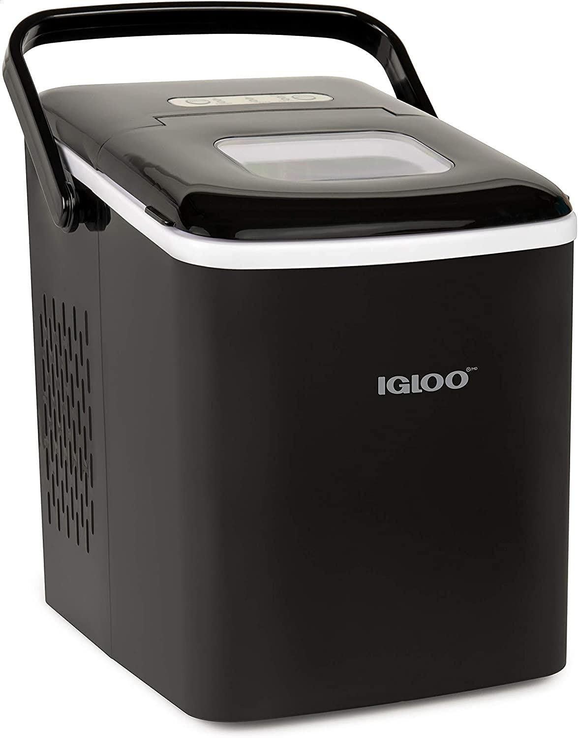 ICEB26HNBK Automatic Self-Cleaning Portable Electric Countertop Ice Maker Machine With Handle, 26 Pounds in 24 Hours, 9 Ice Cubes Ready in 7 minutes, With Ice Scoop and Basket,Black Black (New)