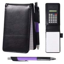 WITERY Notebook Mini Business Memo Pad Holder with Calculator Small Notebook with Ballpoint Pen A7 Mini Notepad 30-page Note Paper Black