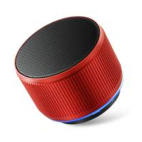 Alfway Mini Small Portable Wireless Bluetooth Speaker with LED Light and Built-in Mic, Supports AUX Audio Input and TF Card Playing (Red)