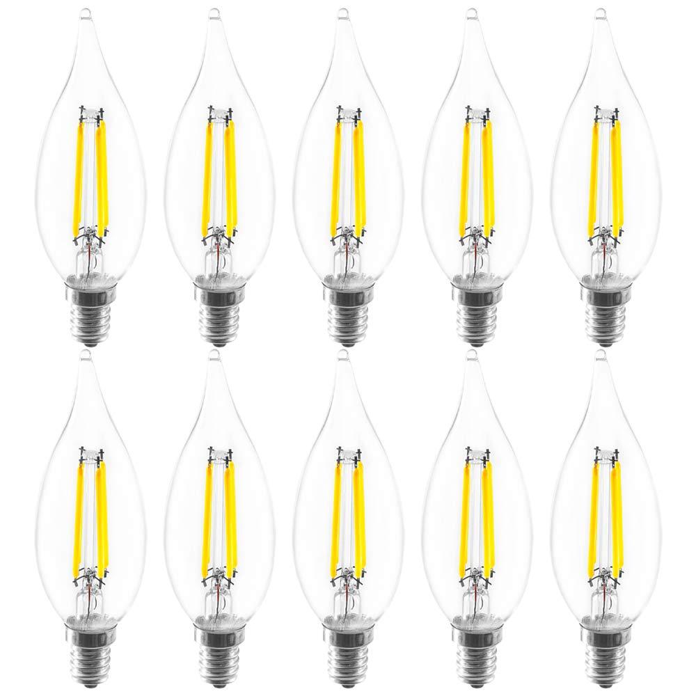 Luxrite LED Edison Chandelier Bulb, 4W (40W Equivalent), 6500K Daylight White, 350 Lumens, Flame Tip, LED Filament Light Bulb, UL Listed, E12 Candelabra Base, Pack of 10