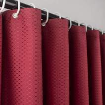 Ebecede Stall Shower Curtain for Bathroom 54 x 78, Heavy-Weight Fabric Shower Curtain or Liner Waffle Weave Small Size, Red Wine