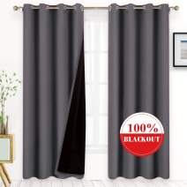 BYSURE 100% Gray Blackout Curtains 84 inches Long, for Bedroom 52x84 inches Soft Thermal Insulated Lined Drapes with Backing, Energy Saving Window Draperies (Gray, 2 Panels)