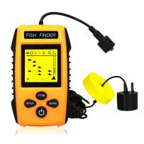 Ovetour Portable Wired Fish Finder Sonar Sensor Transducer Water Depth and LCD Display Handheld Finder for Ice, Lake, Boat, Sea Fishing