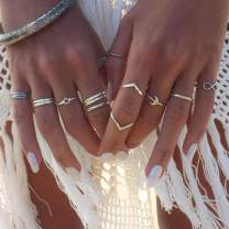 Zoestar Bohemian Rings Set Star with Moon Joint Ring Eternal Knuckle Ring Jewelry for Women and Girls