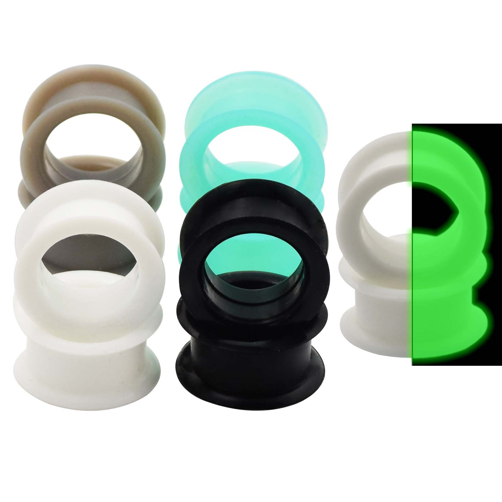 """Qmcandy 5 Pairs Mixed Colors Flexible Silicone Flesh Tunnels 8g-1"""" Hollow Ear Expander"""