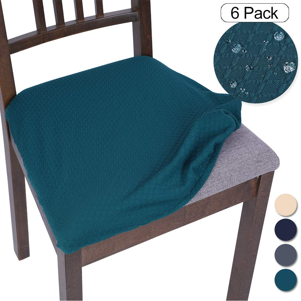 SearchI Stretch Spandex Jacquard Dining Room Chair Seat Covers, Removable Water Repellent Chair Seat Cushion Slipcovers for Dining Room, Kitchen, Office, Anti-Dust & Machine Washable - Set of 6, Teal