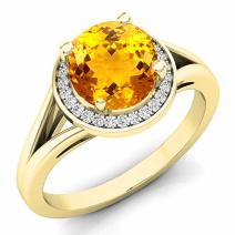 Dazzlingrock Collection 14K 7 MM Gemstone & White Diamond Halo Style Bridal Engagement Ring, Yellow Gold