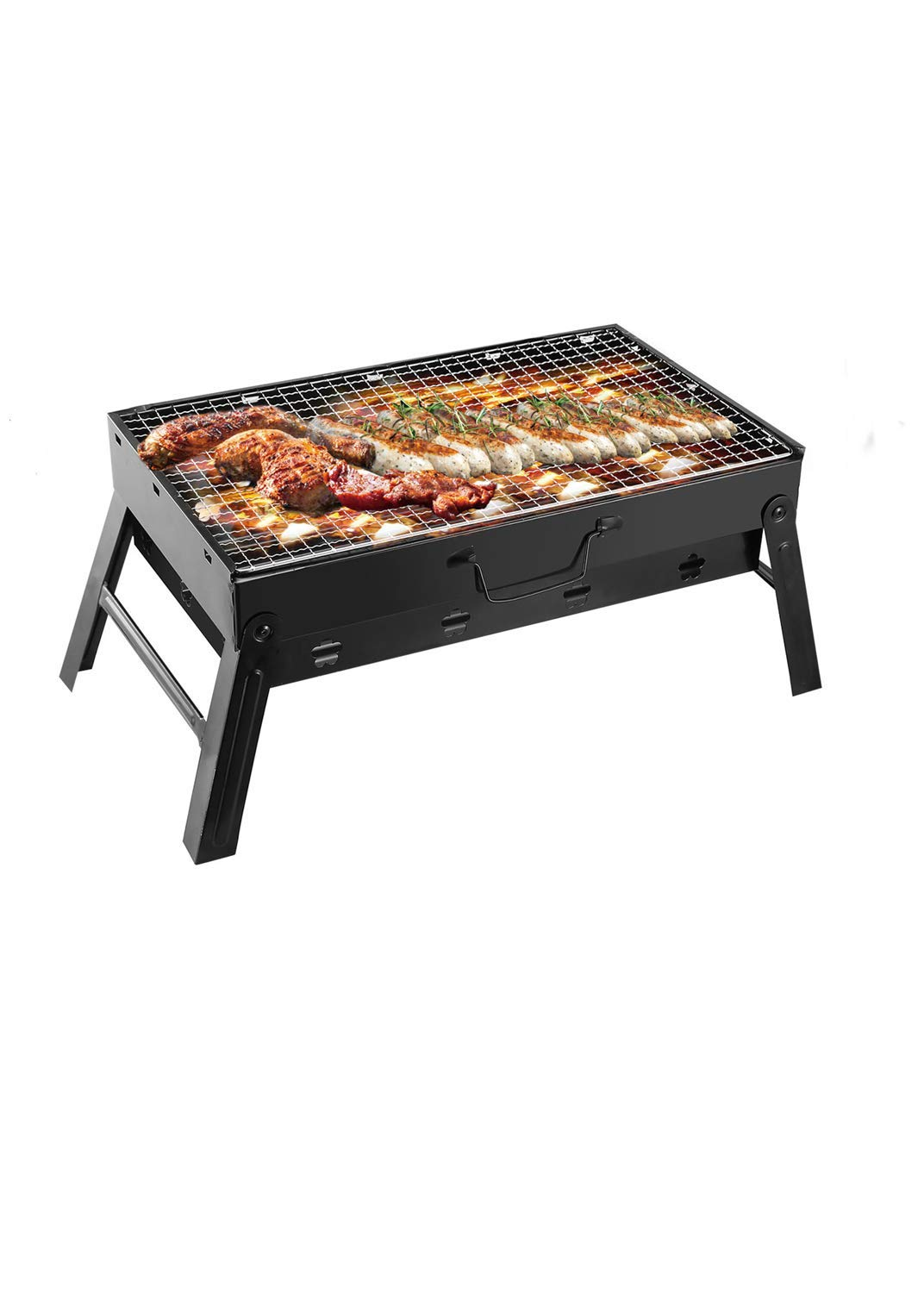 TeqHome Portable Charcoal Grill, Foldable Barbecue Grill Small BBQ Grill for Outdoor, Backyard, Camping, 17 x 10 x 11 inch