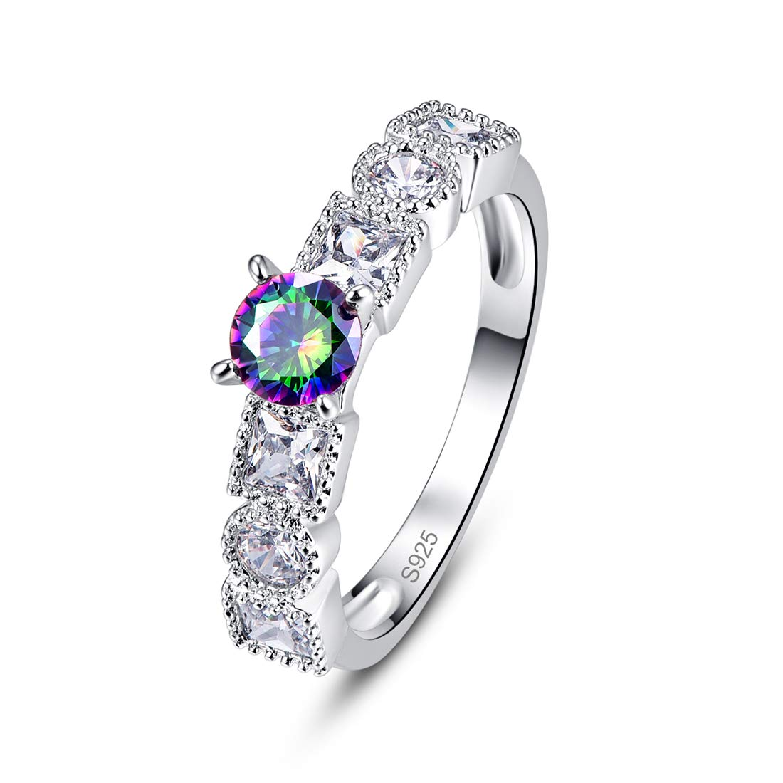 Momius 925 Silver Created Rainbow Topaz Brilliant Round Cut Cocktail Pave Wedding Band Engagement Ring for Women