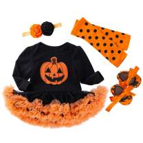 Halloween Baby Girls Outfit Pumpkin Romper Tutu Dress Halloween Bodysuit Costume 4PCS Set