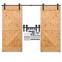"""CCJH 6FT Sliding Barn Door Hardware Kit, Heavy Duty, Smoothly and Quietly, Easy to Install, Fit 18"""" Thickness Double Door Panel, Line Style Black"""