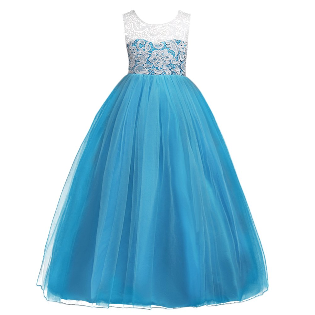 Kids Girls Princess Floor Length Floral Lace Tulle Bridesmaid Dress Flower Wedding Pageant Party Long Prom Maxi Evening Dance Gown Blue 9-10