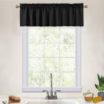 CAROMIO Valance Curtains for Kitchen, Waffle Woven Textured Valances for Bathroom Windows Short Kitchen Cafe Curtains, Black, 60x15 Inch
