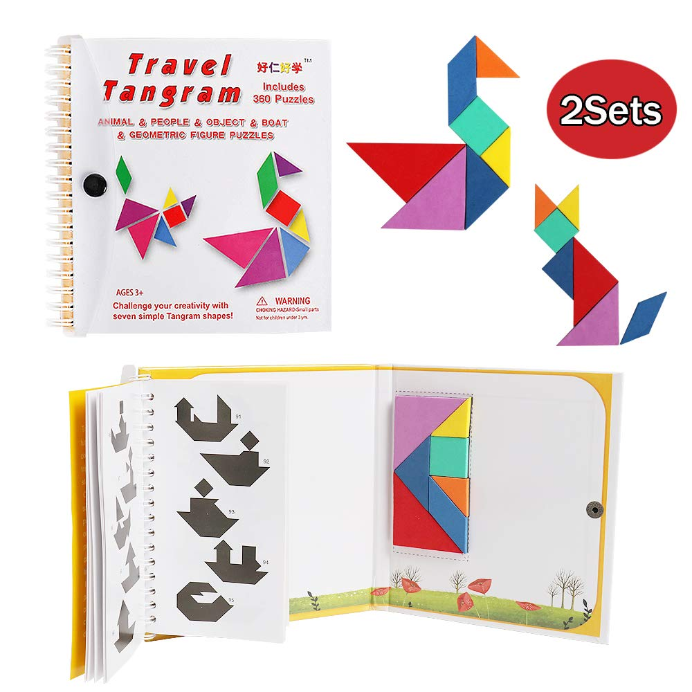 HOONEW Tangram Travel Games 360 Magnetic Puzzles jigsaw with Solution Questions Kid Adult Challenge IQ Educational Book Colorful Shapes STEM Montessori Toy For Baby Toddlers Kids 3+(2 Set of Tangrams)