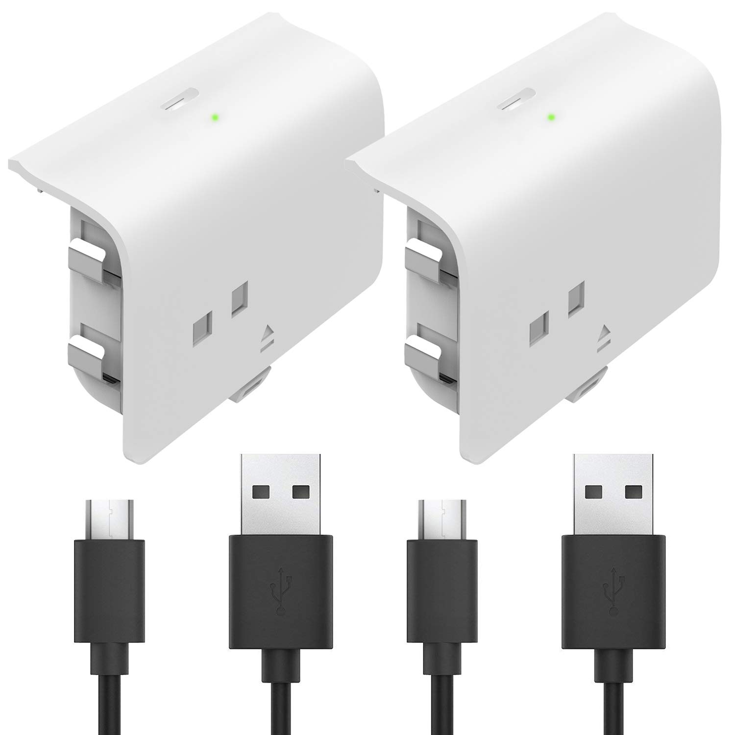 Fosmon Rechargeable Battery Pack Compatible with Xbox One/One X/One S Elite (Not for Xbox Series X/S 2020) Controller (2 Pack), Works with Fosmon Dock C-10659 / C-10709 / C-10738 / C-10751 - White