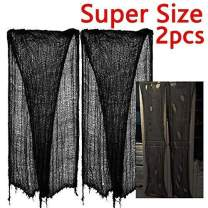 "zhihu 2 PCS Super Size 180""-300"" Creepy Halloween Creepy Gray Black Purple White Cloth for Halloween Party Supplies & Decorations (180inch, Black)"