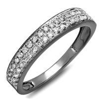 Dazzlingrock Collection 0.33 Carat (ctw) 10k Gold Black Rhodium Plated Round Diamond Ladies Anniversary Band Wedding Ring 1/3 CT