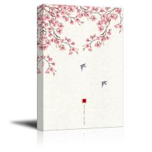 wall26 Canvas Wall Art - Traditional Chinese Style Painting of Cherry Blossom and Birds in Spring - Giclee Print Gallery Wrap Modern Home Decor Ready to Hang - 12x18 inches
