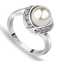 Acefeel Fashion Cocktail Pearl Rings for Women Costume Jewelry Statement Ring R103