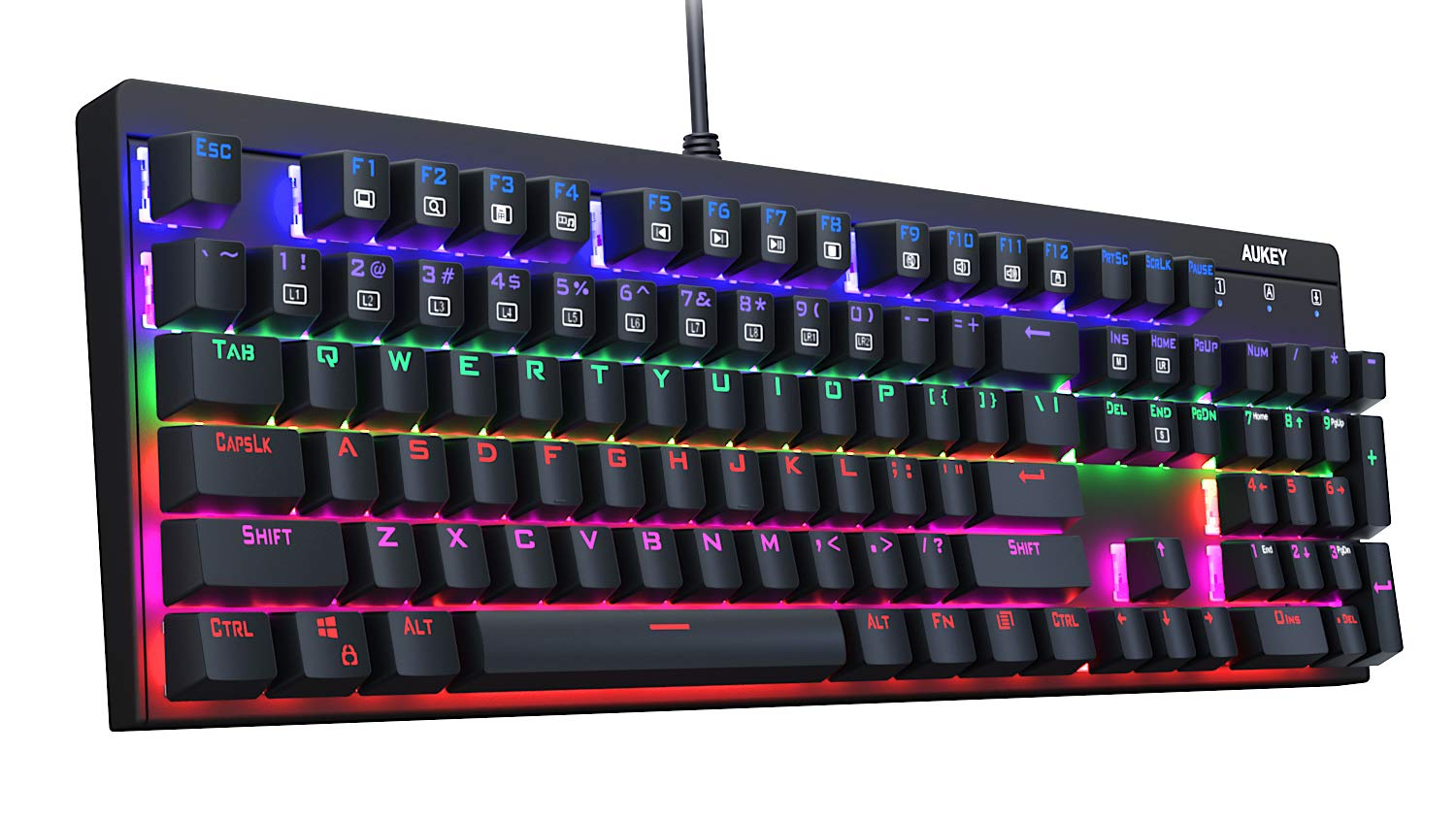 AUKEY Mechanical Keyboard LED Backlit Gaming Keyboard with Blue Switches, 104 Keys 100% Anti-ghosting with Metal Top Panel and Water-Resistant Design for PC and Laptop Gamers, Black