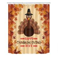 LB Happy Thanksgiving Day Shower Curtain Set,Maple Leaf Dark Brown Turkey Bathroom Curtain with Hooks,60x72 inch Waterproof Polyester Fabric
