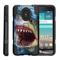 TurtleArmor   Compatible with LG Aristo Case   LG LV3 Case   LG K8 (2017) Case [Dynamic Shell] Dual Layer Hybrid Impact Case Fitted Silicone Kickstand Sea Ocean - Shark Attack