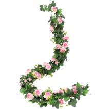 Nubry 5.6FT Artificial Lifelike Fake Flowers Rose Garland Plant Vine for Home Wedding Arch Party Garden Decor(Pink)