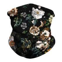 Unisex Seamless Rave Bandanas Balaclavas Flower Print UV Headwrap Tube Neck Gaiter Scarf for Dust Outdoors Sports