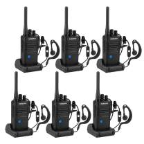 Long Range Rechargeable Two-Way Radio with Earpiece and Group Talk Function, Sanzuco UHF 400-470MHz Reprogrammable Handheld Walkie Talkie, USB Charging Dock Included (6 Packs)