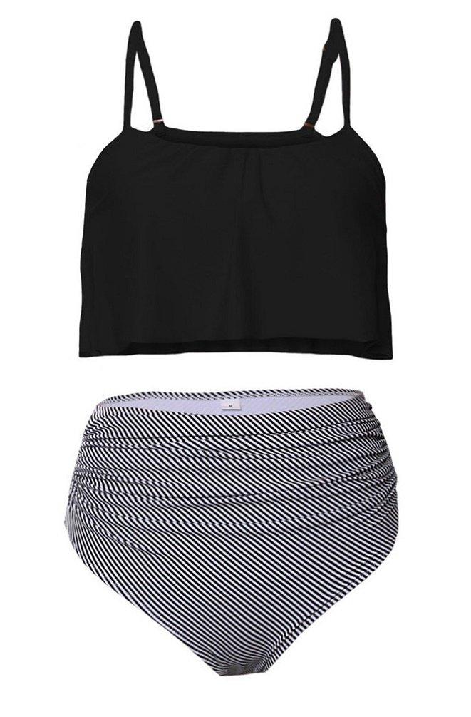 Nicetage Women 2 Piece Straps Swimsuit Falbala Crop Bikini Top with High Waist Bottom