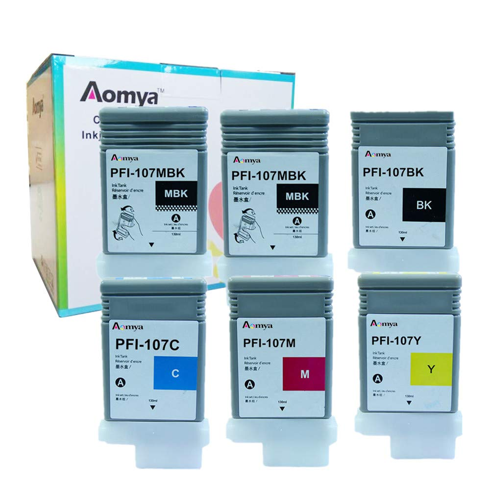 Aomya Compatible Ink Cartridge Replacement for Canon PFI-107 (2MBK, 1BK, C, M, Y) 6 Pack