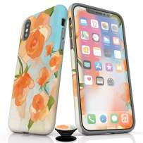Phone Accessory Bundle for iPhone Xs Max- Screen Protectors, Matte iPhone Case, and Cell Phone Grip with Watercolor Roses Design