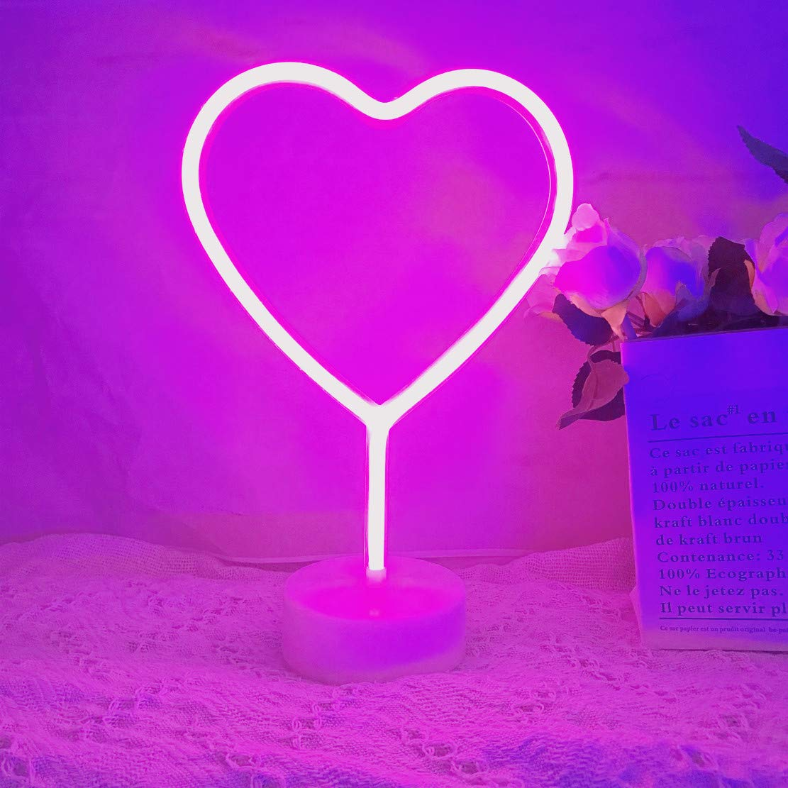 QiaoFei LED Heart Sign Night Light,Neon Heart Shaped Decor Light with Holder Base,Table Light Marquee Signs/Wall Decor for Christmas,Birthday Party,Kids Room,Living Room,Wedding Party Decor(Pink)