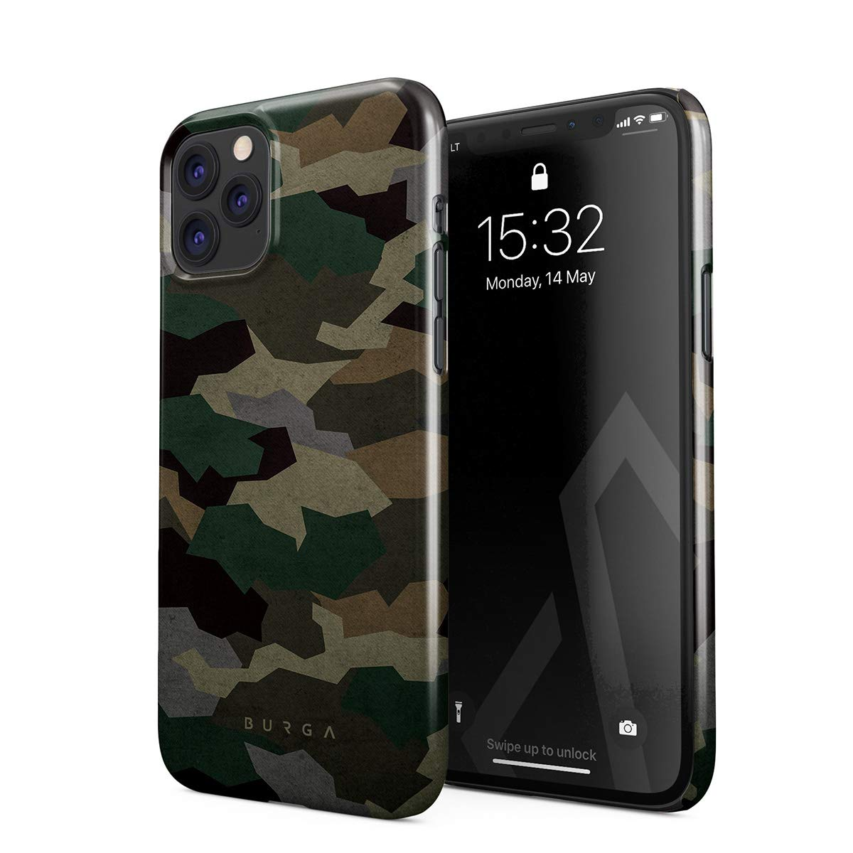 BURGA Phone Case Compatible with iPhone 11 PRO - Tropical Military Army Green Camo Camouflage Cute Case for Women Thin Design Durable Hard Plastic Protective Case
