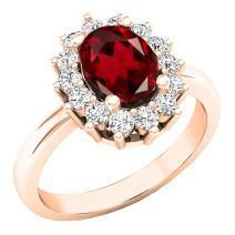 Dazzlingrock Collection 10K 8X6 MM Oval Gemstone & Round White Diamond Halo Bridal Engagement Ring, Rose Gold
