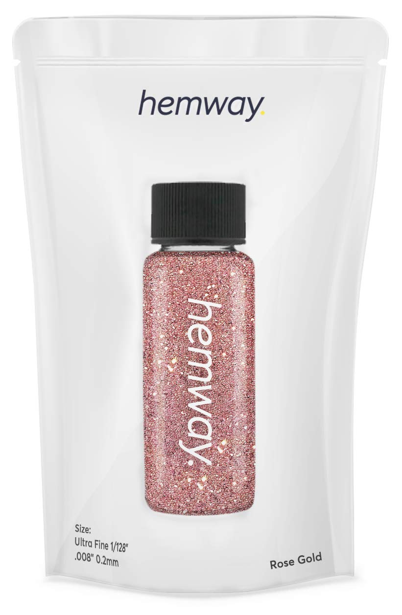 """Hemway Glitter Tube 12.8g / 0.45oz Extra Chunky 1/24"""" 0.04"""" 1MM Premium Sparkle Gel Nail Dust Art Powder Makeup Pigment Eyeshadow Face Body Eye Cosmetic Safe-(Rose Gold Holographic)"""