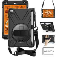 ZenRich iPad Mini 5 Case 2019 iPad Mini 4 Case 2015 Heavy Duty Shockproof Rugged Case with Pencil Holder 360 Degree Kickstand Hand Strap Carrying Shoulder Belt for iPad 7.9 inches Tablet, Black