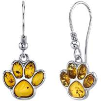 Peora Genuine Baltic Amber Paw Print Dangle Drop Earrings in Sterling Silver, Rich Cognac Color, Fish Hook